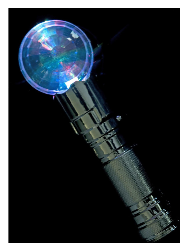 Outerspace Disco Microphone, Silver, Light Up, 20cm / 8in