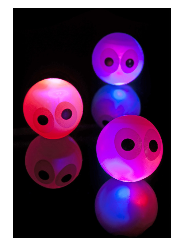 Mini Eye Flashing and Bouncing Balls, Assorted Neon Colours, 24