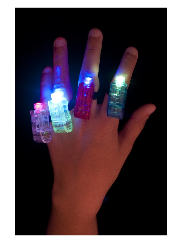 Multi Colour, Multi Flashing Finger Lights, Assorted Colours, 4 Pieces