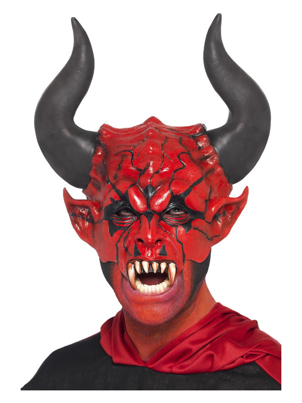 Devil Lord Mask, Red, Half Face, Latex
