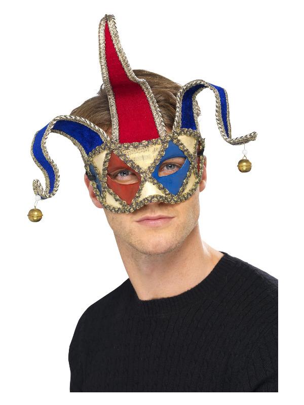 Venetian Musical Jester Eyemask, Red & Blue