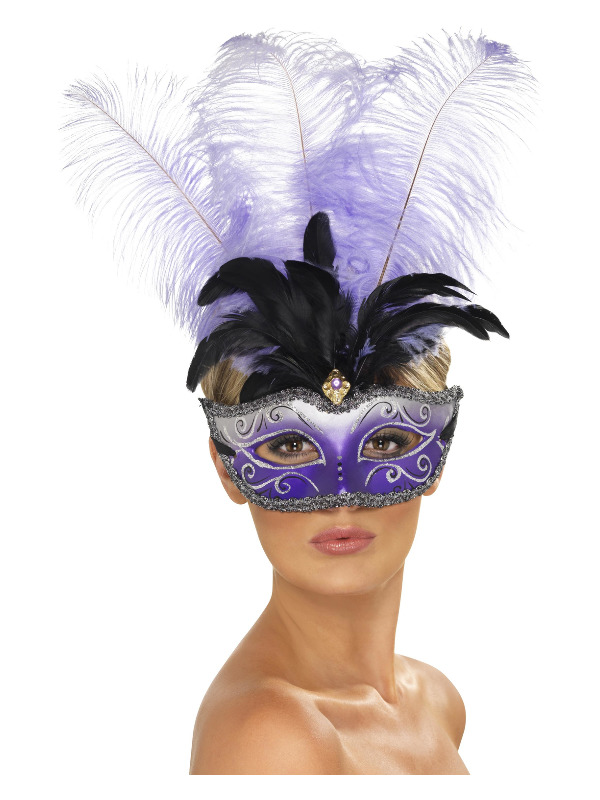 Venetian Colombina Eyemask with Multicolour Plume, Purple