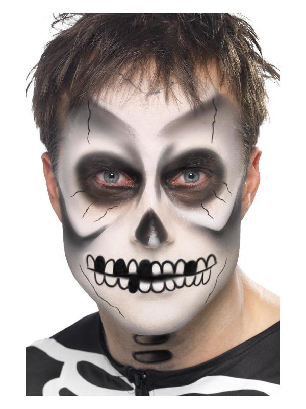 Smiffys Make-Up FX, Skeleton Kit, Black & White, Face Paint, Black Crayon & Sponge