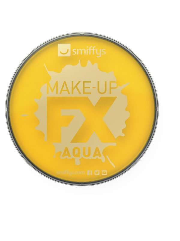 Smiffys Make-Up FX, Yellow, Aqua Face & Body Paint, 16ml, Water Based
