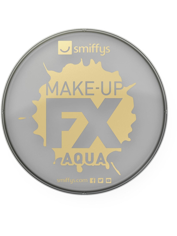 Smiffys Make-Up FX, Light Grey, Aqua Face and Body Paint, 16ml, Water Based