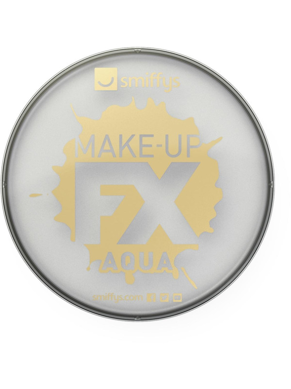 Smiffys Make-Up FX, Metallic Silver, Aqua Face and Body Paint, 16ml, Water Based