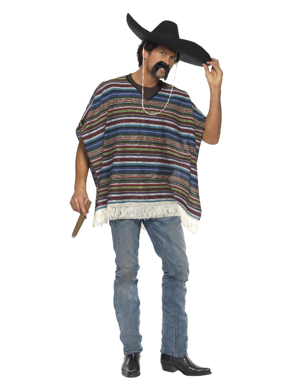 Authentic Looking Poncho, Blue