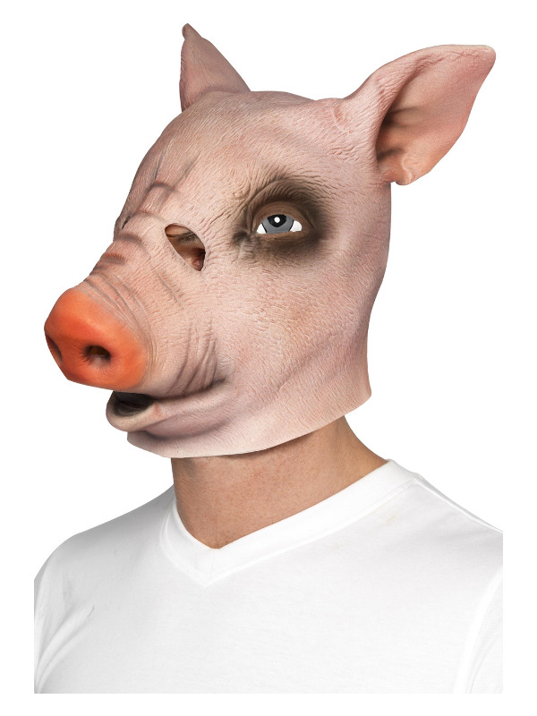 Pig Mask, Pink, Full Overhead, Latex