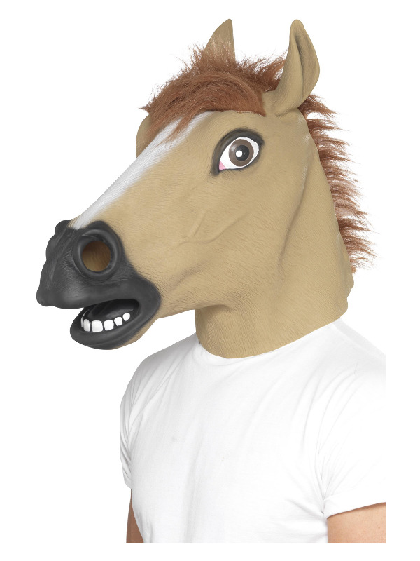 Horse Mask, Brown, Full Overhead, Latex, with Fur
