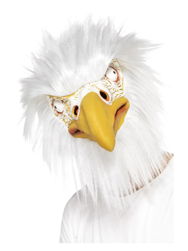 Eagle Mask, Full Overhead, White, Latex, with Fur