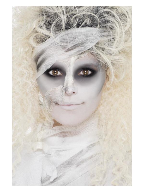 Smiffys Make-Up FX, Mummy Kit, White, with Liquid Latex, Horror Flesh, Bandage & Crayons