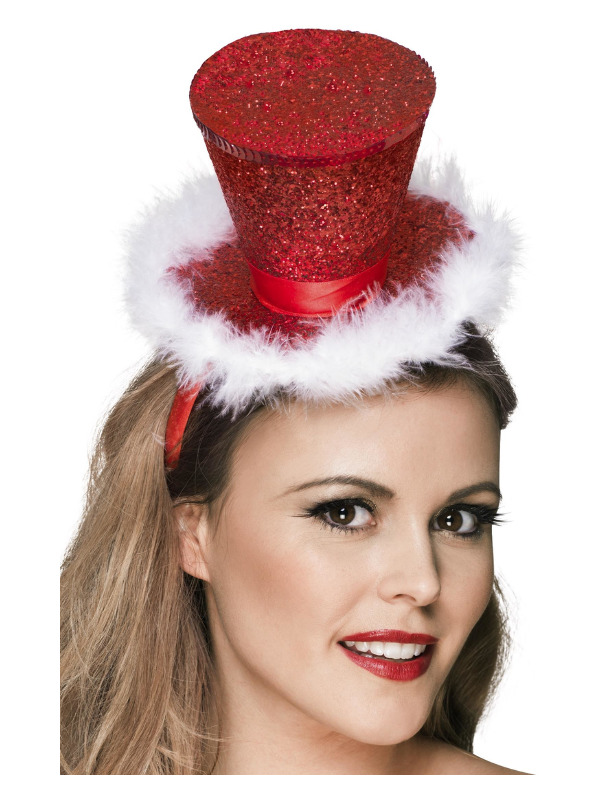 Fever Mini Top Hat on Headband, Red, with Marabou