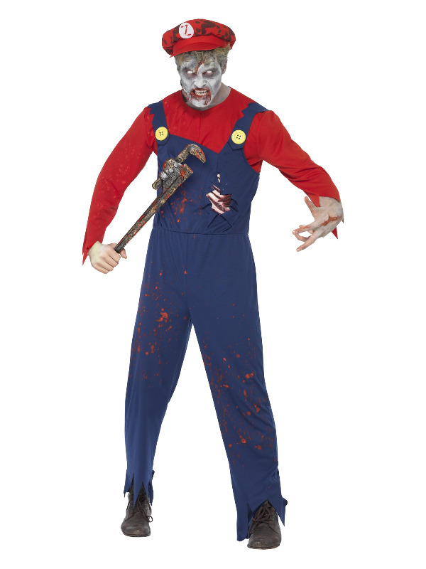 Zombie Plumber Costume, Red & Blue