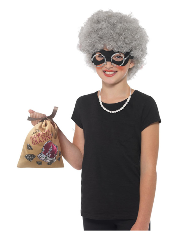 David Walliams Deluxe Gangsta Granny Instant Kit, Grey, with Wig, Eyemask, Bag, Pearl Necklace & Glasses