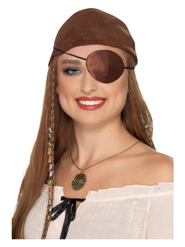 Deluxe Pirate Eyepatch, Brown, Satin