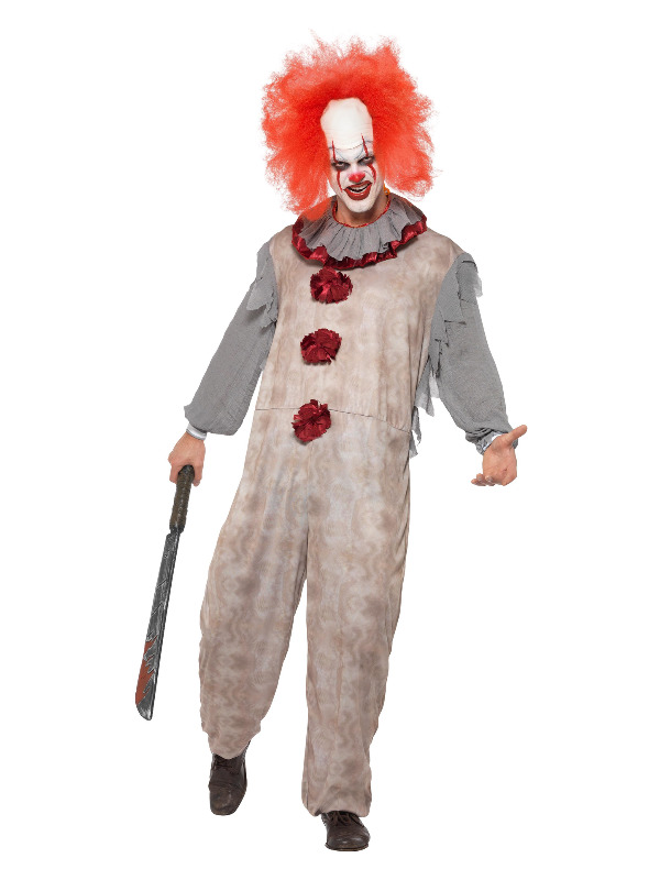 Vintage Clown Costume, Grey & Red