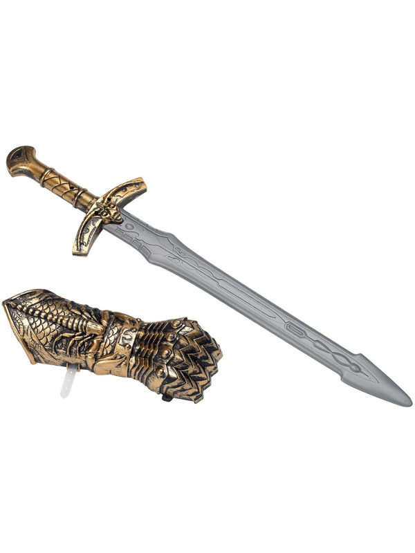 Medieval Weapon Set, Bronze, with Sword & Hand Shield