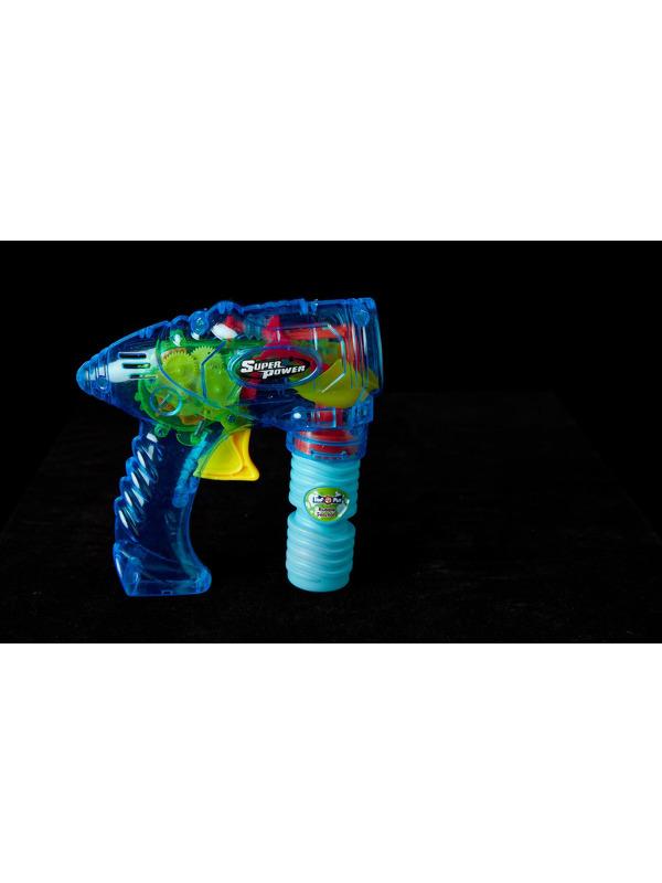 Transparent Friction Bubble Gun, Blue, Includes Solution, 73x48x62cm / 29x19x24in