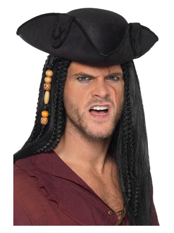 Tricorn Pirate Captain Hat, Black, with PU Trim