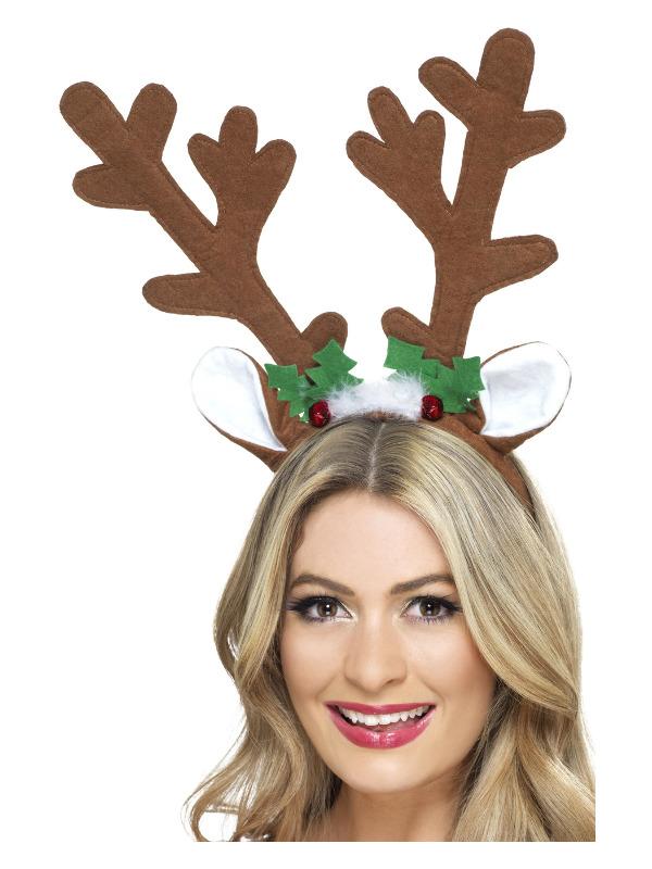 Reindeer Antlers, Brown, on Headband