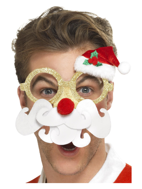 Santa Comedy Glasses, Yellow, with Beard and Attached Nose