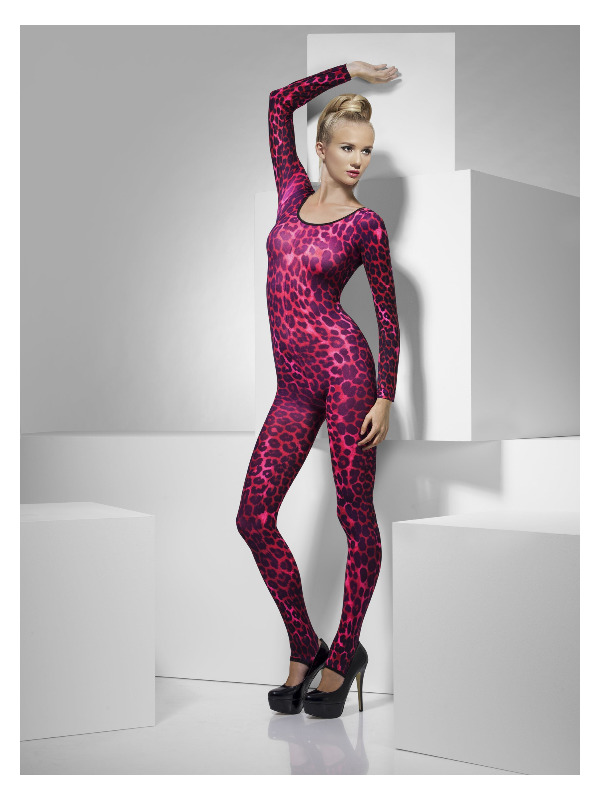Cheetah Print Bodysuit, Neon Pink
