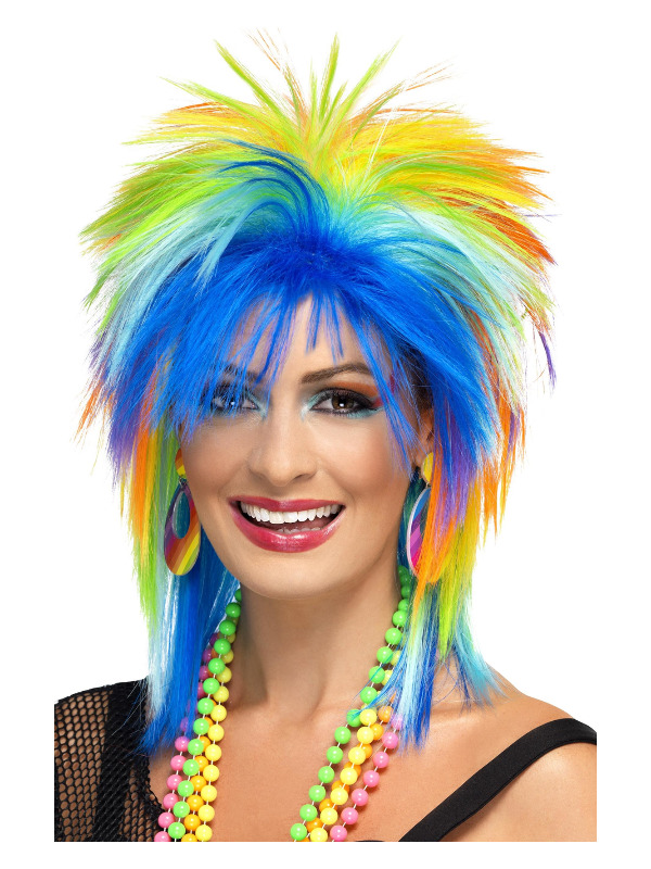 80s Rainbow Punk Wig, Multi-Coloured