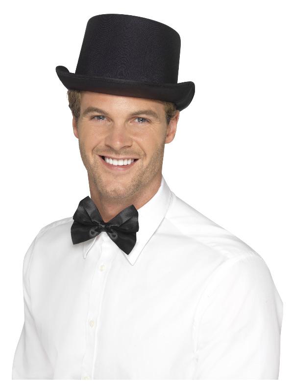 Top Hat, Satin Look, Black, with Elastic Inner Rim