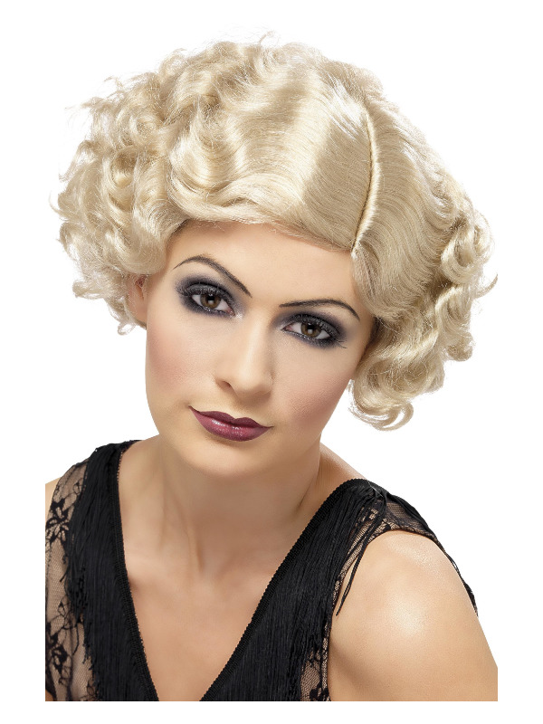 20s Flirty Flapper Wig, Blonde, Short and Wavy