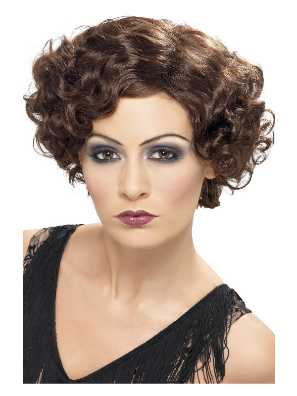 20s Flirty Flapper Wig, Brown, Short and Wavy