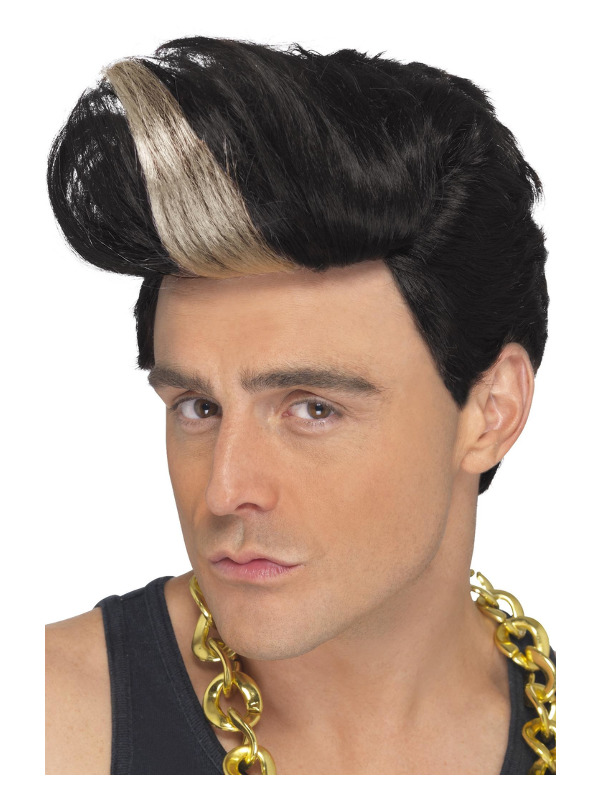 90s Rapper Wig, Black, Quiff Wig with Highlight