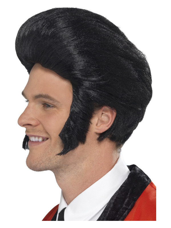 50s Quiff King Wig, Black, with Sideburns