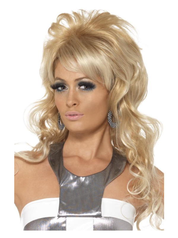 60s Beauty Queen Wig, Blonde, Long with Bouffant and Fringe