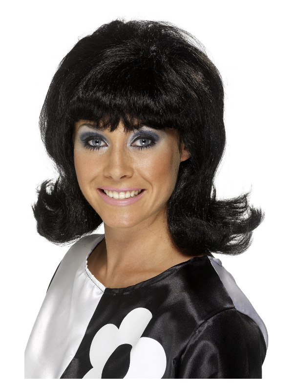 60s Flick-Up Wig, Black, Short