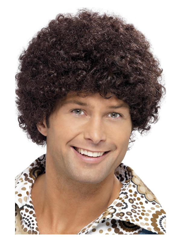 70s Disco Dude Wig, Brown, Afro