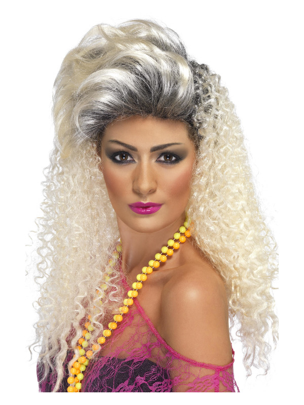 80s Bottle Wig, Blonde, Curly with Quiff