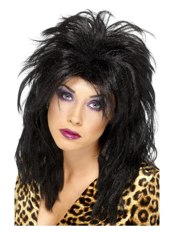 80s Popstar Wig, Black, Long Tousled Mullet