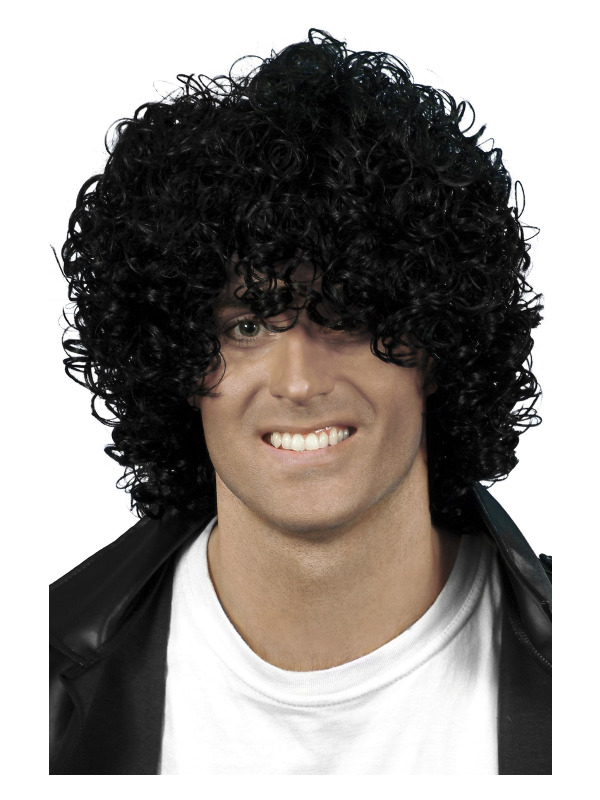 Afro Wet Look Wig, Black, Curly