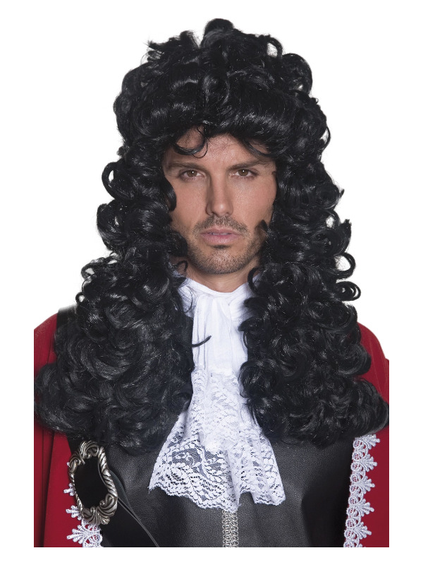 Pirate Captain Wig, Black, Long and Curly
