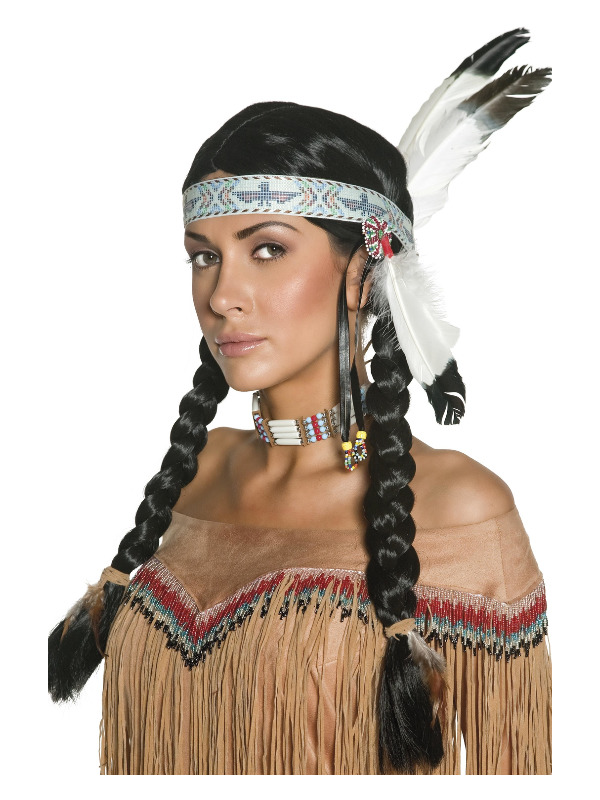 Native American Inspired Wig, Black, Plaits, with Feather Headband