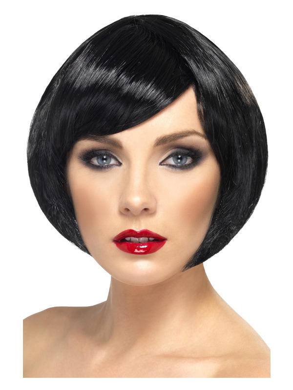 Babe Wig, Black, Short Bob with Fringe