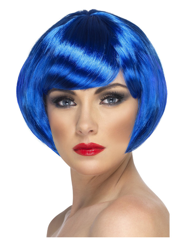 Babe Wig, Blue, Short Bob with Fringe
