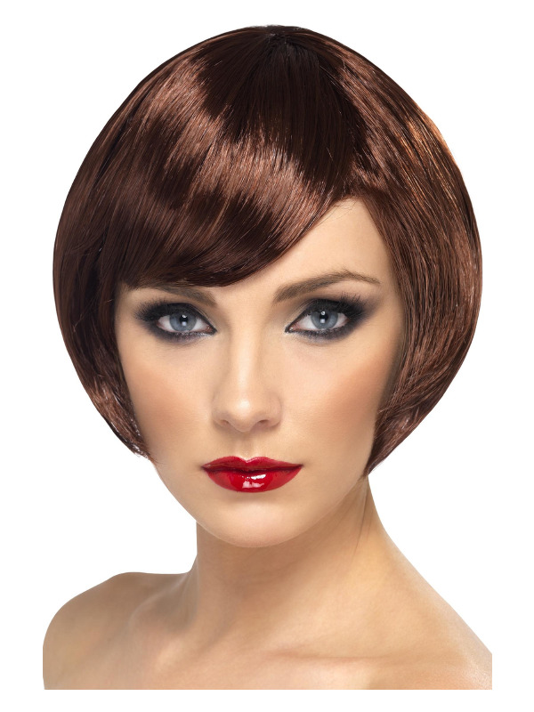Babe Wig, Brown, Short Bob with Fringe