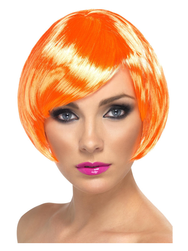 Babe Wig, Fire Coral, Short Bob with Fringe
