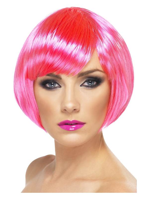 Babe Wig, Neon Pink, Short Bob with Fringe