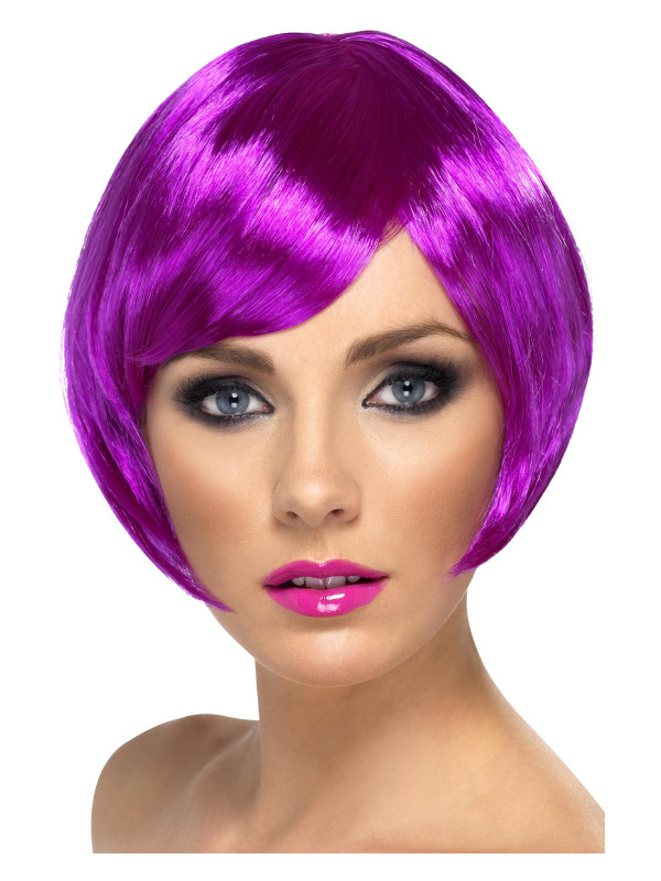 Babe Wig, Purple, Short Bob with Fringe