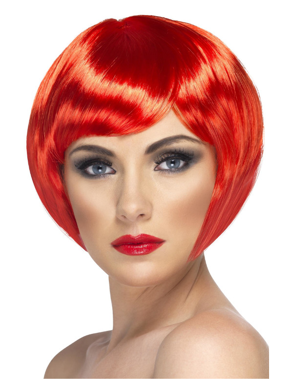 Babe Wig, Red, Short Bob with Fringe