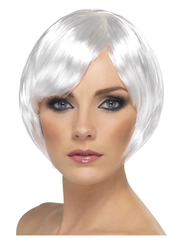 Babe Wig, White, Short Bob with Fringe