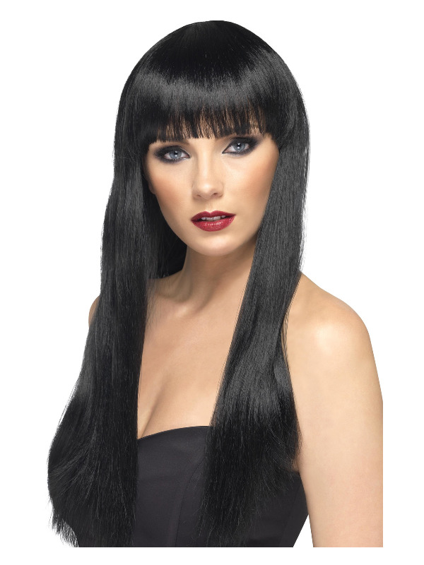 Beauty Wig, Black, Long, Straight with Fringe