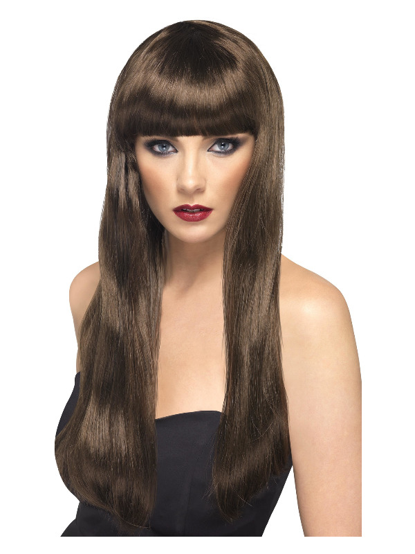 Beauty Wig, Brown, Long, Straight with Fringe